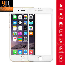 Genuine Tempered Glass Screen Protector Premium Full For iPhone 6 Plus WHITE RIM