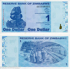 ZIMBABWE $1 Dollar Banknote World Money Bill Note Africa Post $100 Trillion