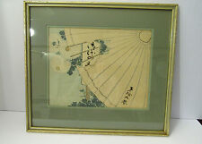 VINTAGE JAPANESE MULTICOLOR WOOD BLOCK PRINT-SPYING THROUGH AN UMBRELLA--SIGNED