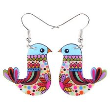 Bonsny Cute Bird Earrings Acrylic Long Drop Dangle Earrings 2016 News AE398