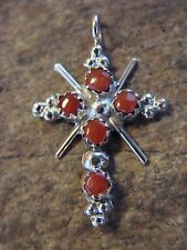 Native American Indian Jewelry Sterling Silver Coral Cross Pendant! Zuni