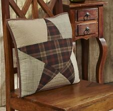 WESTERN COUNTRY PLAID STAR PILLOW : 16x16 QUILTED RED BROWN ACCENT TOSS CUSHION