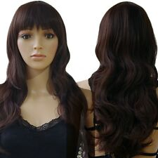 Top Sale Black Red Purple Pink Ombre Two Tone Full Head Wig With Bangs Costume