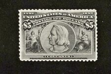 SCOTT 245 $5.00 COLUMBIAN POST OFFICE FRESH COLORVF - XF SMALL TEAR TOP CENTER