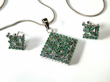 Natural Columbian Emerald Pendant & Earrings with sterling silver snakechain