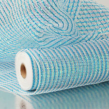 Metallic Deco Mesh Turquoise & White 21 inches 10 yards 61436908