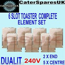 DUALIT 6 SLOT TOASTER HEATING ELEMENTS COMPLETE SET 2 X END 5 X CENTRE KIT PARTS