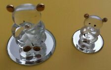 GLASS BARON Teddy Bear Figurines #HC2 161G Mother Baby Gold Trim LOT Of 2 Bears