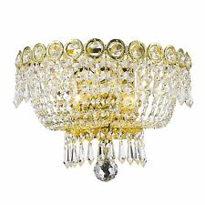"USA BRAND French Empire 2 Light Gold Finish Crystal Wall Sconce Light 12"" x 8"""