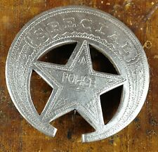 Old West Style Star Crescent Moon Shape SilverPlate Pinback Special Police Badge