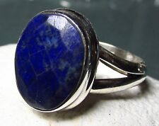 925 silver faceted blue LAPIS LAZULI ring UK M½/US 6.5. Free UK Shipping