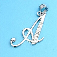 Alphabet Initial Pendant Sterling Silver 925 Cubic Zirconia Jewelry Letter A