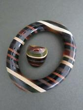 Vintage Modernist Teak Lucite Bracelet and Ring Set