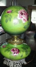 Vintage Hand Painted Rose Design Gone-With-the-Wind Huricane original Gas Lamp
