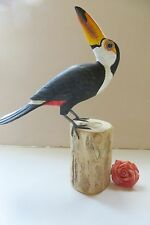 TOUCAN  Perched on a log HAND CARVED FIGURINE, SIGNED BY ARTIST!