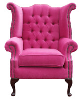 Chesterfield Armchair Queen Anne High Back Fireside Wing Chair Pink Fabric