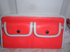NWT Coach Legacy Twotone Zippy Wallet Clutch 48885 Brigh Coral / Snow