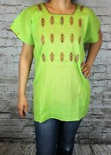 Light Green 100% Gauze Cotton Mexican Tunic Telar Hand loom Blouse Top XL