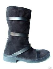 new $1090 Costume National black suede/leather ALL SHEARLING zipper BOOTS 41 11