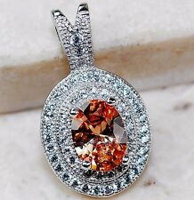 2CT Padparadscha Sapphire & Topaz 925 Solid Genuine Sterling Silver Pendant