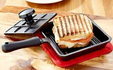 Sandwich Grill Press Cast Iron Maker Panini Cheese Stove Top Camping Outdoor BBQ