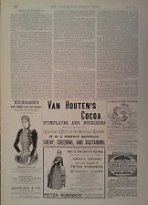 1890 ADVERT NICHOLSON'S-VAN HOUTEN'S COCOA-PETER ROBINSON-S FOX & Co UMBRELLAS