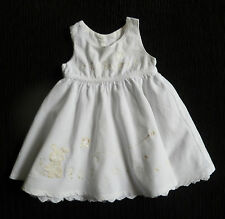 Baby clothes GIRL newborn 0-1m white corded cotton rabbit/bee dress/underskirt