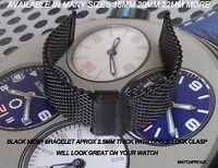 BLACK MESH BRACELET BAND METAL STRAP 18MM 20MM 22MM 24MM FOR NEW / VINTAGE WATCH