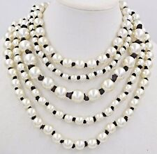 CHANEL CC logo Necklace 2016 20 28 inch Long Pearl Ribbon 5 Rows White Black NEW