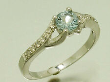 R213- Solid 9ct White Gold Natural Aquamarine & Diamond Engagement Ring size O