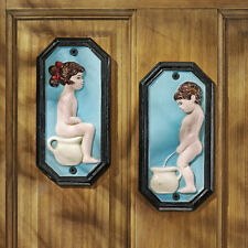 European Antique Replica Cast Iron Boy & Girl Restroom Door Wall Plaque Plates