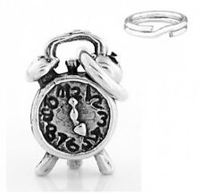 """STERLING SILVER """"ALARM CLOCK"""" CHARM WITH SPLIT RING"""