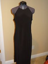 Long Black Ralph Lauren Silk Dress Size 8 jewel straps Perfect for Holiday Party