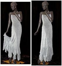 1930s Style Flapper Evening Gown Silver Lame Metallic Decorations Sz 14 #1304