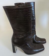 Women's BASS Snake Skin Pattern Leather Boots Mid-Calf Brazil Made 8.5M Traynor