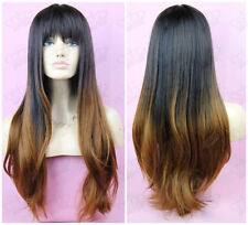Ladies Full Bang Long Ombre Black/Blonde Two-Tone 100% Kanekalon Quality Wig