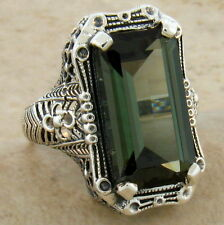 10 CARAT SIM TOURMALINE .925 STERLING SILVER ANTIQUE DESIGN RING SIZE 5,   #104