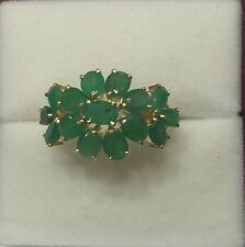 14k Solid Yellow Gold Cluster Flower Ring with Natural Emerald 3.07GM/Size 8