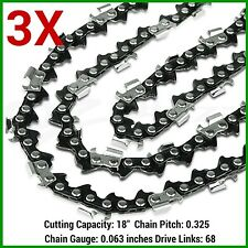 "3X CHAINSAW CHAINS .325 063 68DL FOR STIHL 18"" BAR MS250 MS251 MS230 MS231 025"