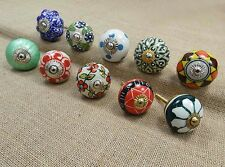 Lot Of 10 Pcs Hand Painted Furniture Knob Ceramic Drawer Pull Cabinet Knobs
