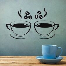 2 Coffee Cup Kitchen Wall Sticker Art Vinyl Decal Restaurant Pub Cafe Home Decor