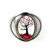Gothic Japanese Cherry Blossom Tree Oriental Asian Art Antique Silver Glass Ring