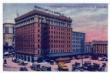 Postcard St Louis MO Trolleys Horse Wagons Delivery Trucks Hardware Store Unused
