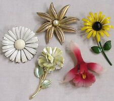 Vintage Jewelry LOT FIVE Flower Power Brooches Pins Daisy Orchid Carnation 1970s