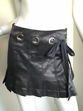 BEBE Shiny Gray Pleaded Mini Skirt With Silver Details And Belt 13.5 Inches Long