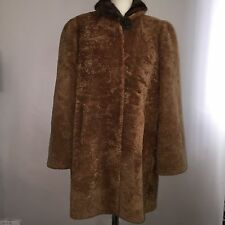 Vintage Lambs Wool Coat 1940s Brown Large