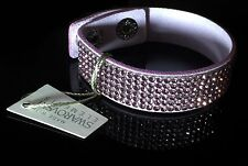 Swarovski Elements Slake Bracelet Crystal Light Pink Alcantara ® Leather Cuff