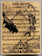 STAMPENDOUS rubber stamp DANSE MACABRE wood mounted, Halloween X-L, Skeleton