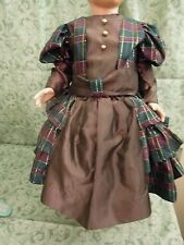 """Doll Fashion outfit: plum color with plaid; hat; fits a 23-24"""" tall; new cp-553"""