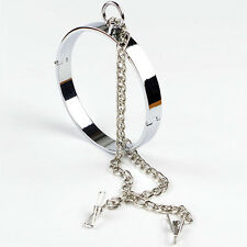 Stainless Steel Neck Collar Adult Slave Roleplay Metal Collar Chain Clip Costume